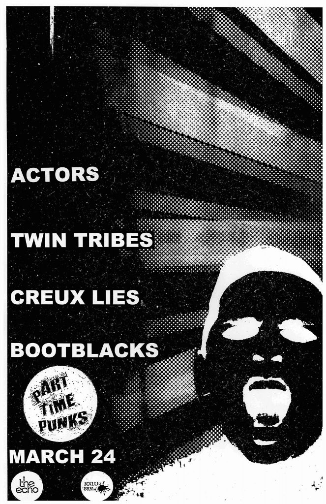 Part Time Punks Presents an Evening of Some of the Best New Darkwave Bands on the Continent w/ ACTORS + TWIN TRIBES + CREUX LIES + BOOTBLACKS